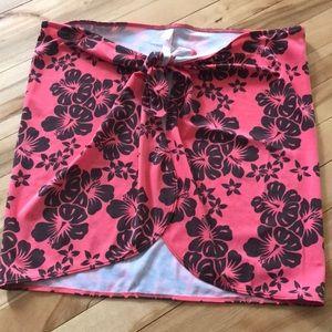 Victoria's Secret coral/brown floral swim sarong M